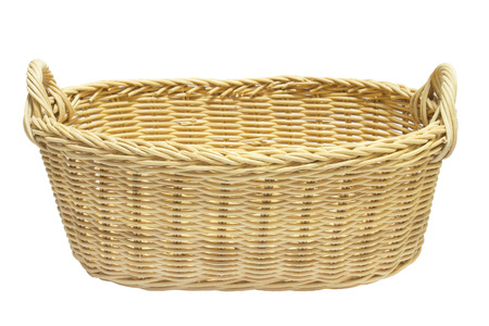 Brown basket isolated.