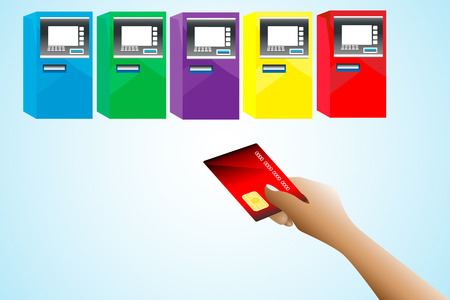 People are using the atm card Stock Vector - 25876628