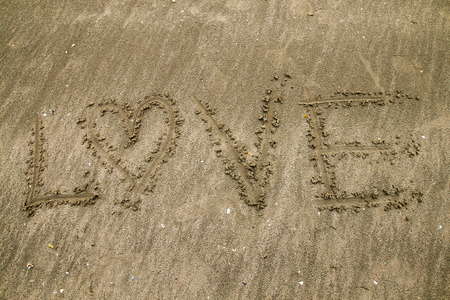 write love on beach photo