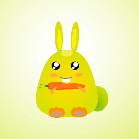 Rabbit with carrot catoon vec tor Vector