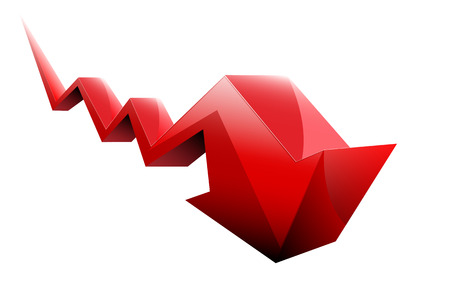 stock market crash: stocks fall red arrow vector 3d