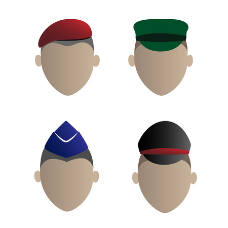 These four soldiers. navy, army, air force, police, icon Vector