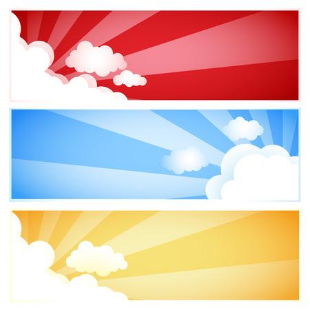 Sunray Sunburst Cloud Set, Vector illustration Vector