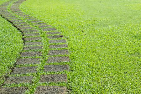 garden green: a way curve garden green Stock Photo