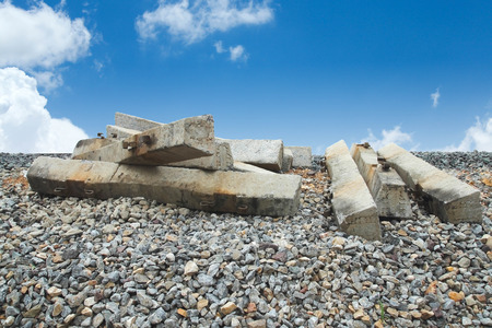 sleepers: Railway sleepers ready-made cement Stock Photo