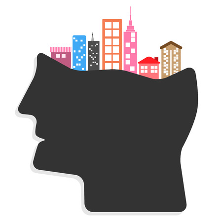 Abstract creative Ideas cities in peoples heads concept. vector illustration