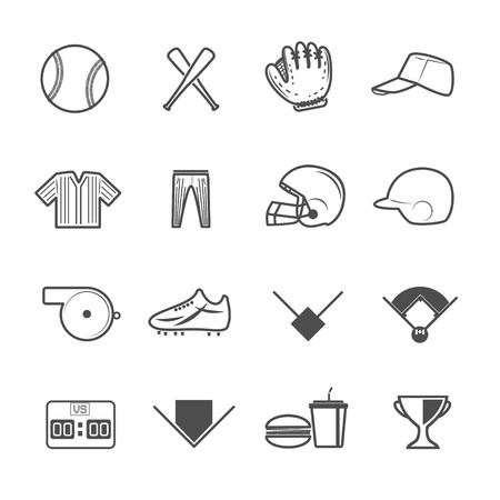 Baseball Sport Icons Vector with White Background Vector
