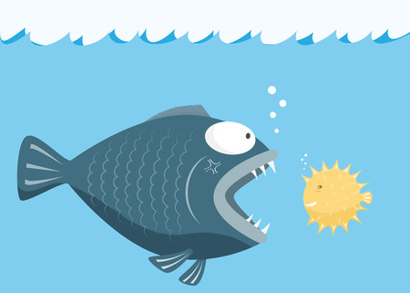 Big fish eat little fish. Fear of small fish concept. vector illustration