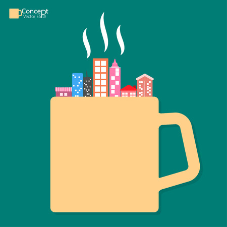 コーヒーカップ: コーヒー カップ コンセプトの街。ベクトル図  イラスト・ベクター素材