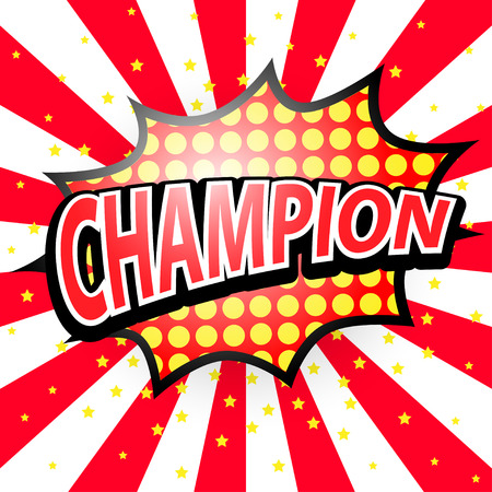 biff: Champion, Comic Speech Red Bubble,  Vector illustration