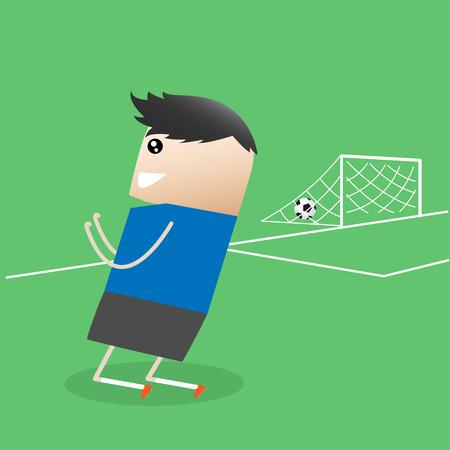 glad: Soccer player Glad show after Goal cartoon, Vector illustration