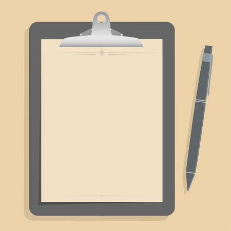 Gray clipboard with blank brown paper.  with pen put alongside. vector illustration Vector