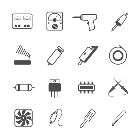 soldering: icon electronic repair tool, vector Illustration