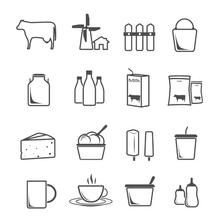 dairy products: icon set milk, dairy products, production vector