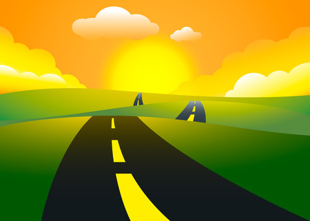 Road on the hills sunset landscape, vector illustration Illustration