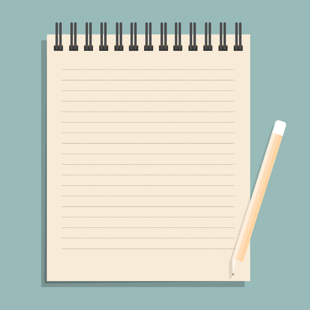 shred: Brown notebook with dotted lines can shred and pencil. vector illustration Illustration