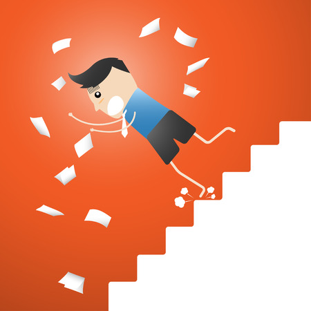developmental: Developmental A leap,  up the ladder Leap cartoon vector illustration