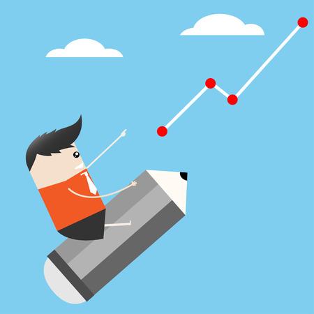 innovator: Businessman Ride pencil stock up cartoon, Vector illustration Illustration