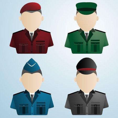 cartoon police soldier military : uniforms vector illustration Vector