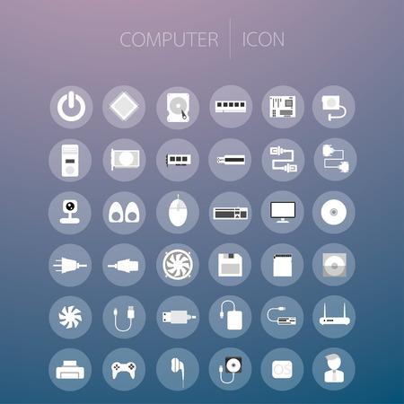 lcd monitor printer: Computer icon, vector illustration