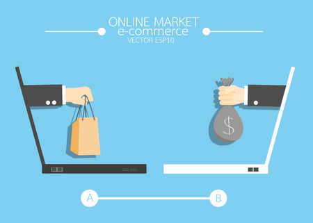 e-commerce Hand holding shopping online concept comes from screen . vector  illustration