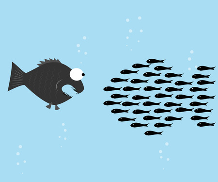 Fishes unite fight with big fish. vector illustration