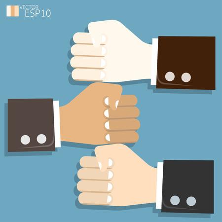Poignée notion de concaténation coopération. illustration vectorielle