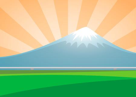 shinkansen: Fuji volcano landscape on the background sunburst day. vector illustration