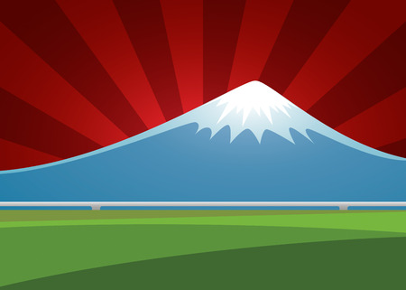 shinkansen: Fuji volcano landscape on the background sunburst. vector illustration