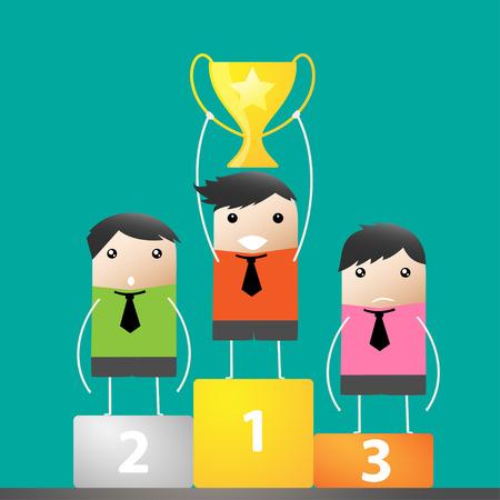 winner podium: Happy Trophy Winner Success cartoon, Vector illustration
