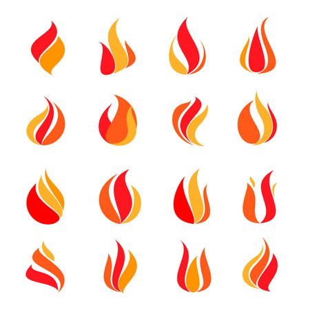 Icon set fire, vector illustration