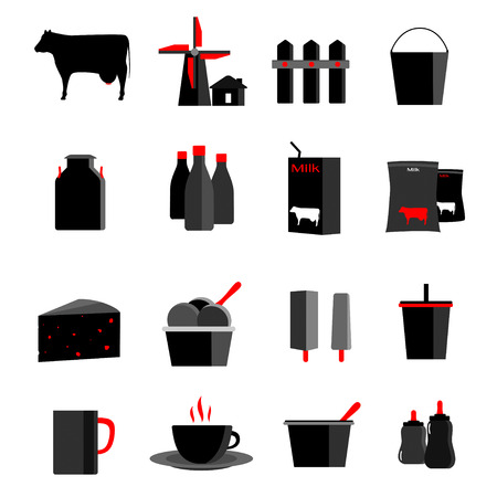 dairy products: icons set milk, dairy products, production vector illustration