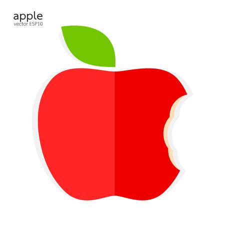 bitten: Manzana mordida roja sobre fondo blanco ilustraci�n vectorial