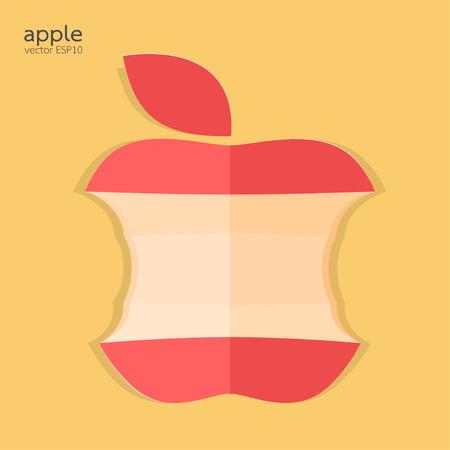 bitten: Red mordido ilustraci�n vectorial manzana