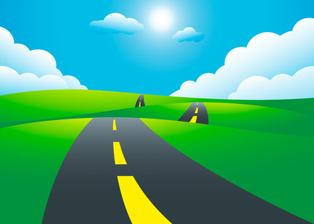 Road on the hills landscape, vector illustration