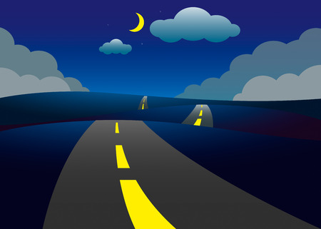 slurry: Road on the hills night landscape, vector illustration