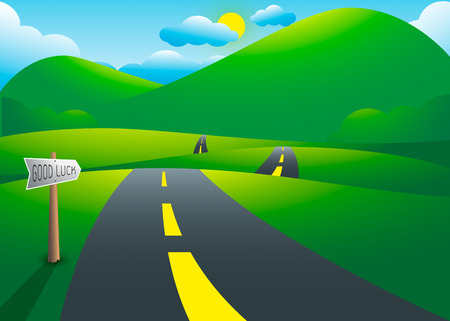 Road on the hills with mountain landscape, vector illustration