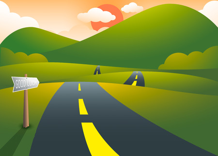 Road on the hills with mountain sunset landscape, vector illustration