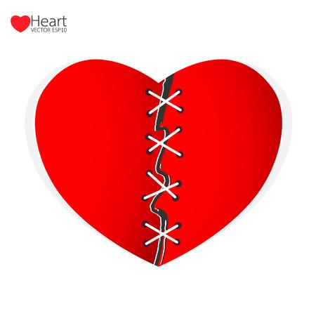 heartache: Mend heart a separate concept. Vector illustration.