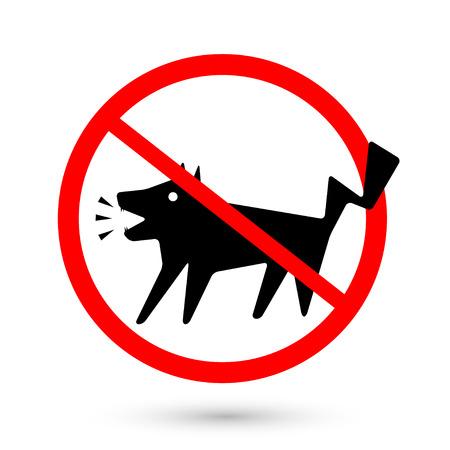 barking: Simbolo cani proibiti abbaiare, non abbaiare isolato su sfondo bianco, illustrazione vettoriale