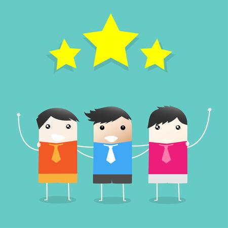 necking: Three Businessmen Necking Together to Success. Vector illustration
