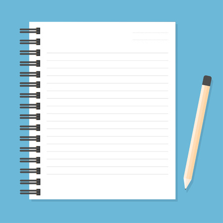 shred: White notebook with lines can shred and pencil. vector illustration