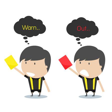arbitros: �rbitros de f�tbol de la historieta que sostiene la tarjeta roja y amarilla. Ilustraci�n del vector.