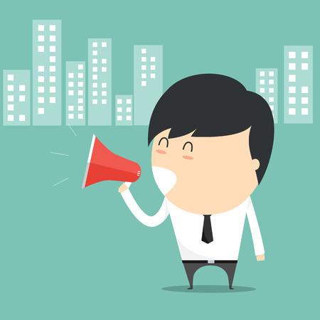 持株を持ったビジネスマンの概念は、メガホンを話します。