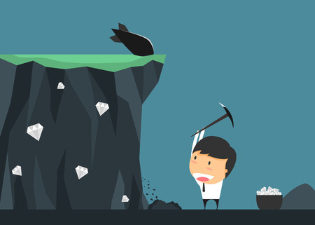 certain: Businessmen risk for treasure. concept of Investment contains certain risks. Vector illustration