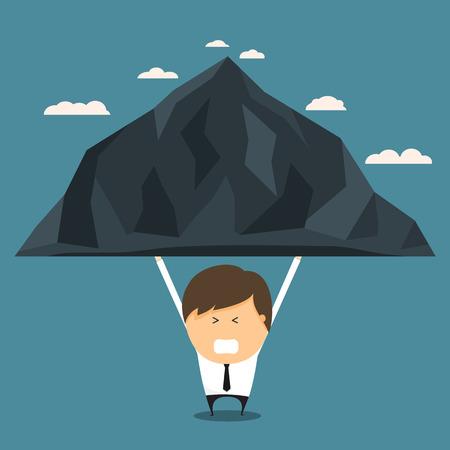 burden: Businessman bear the mountains alone. concept of bear the burden alone. Vector illustration.
