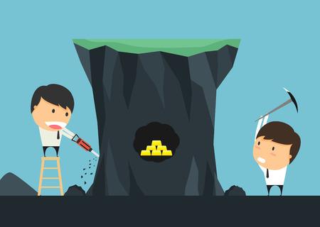 ビジネスマンは、金のための競争を掘るを利点します。ビジネス競争の概念。ベクトル図