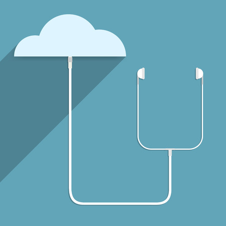 Earphone is connected to the cloud network. Vector illustration. Illustration