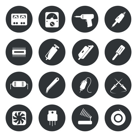 ic: Electronic icons repair equipment. tools vector illustration. Illustration