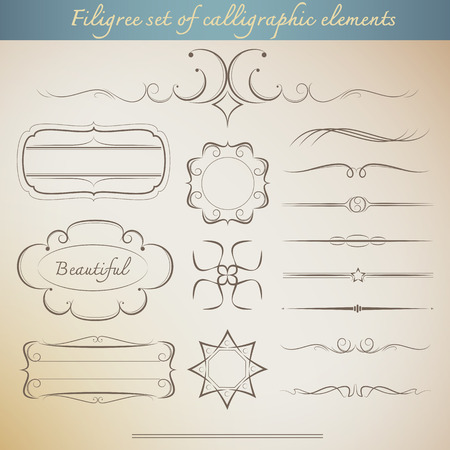 filigree border: Filigree set of calligraphic elements for vintage design. beautiful Vector illustration